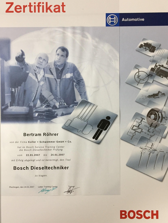 Bosch Dieseltechniker Röhrer Automotive