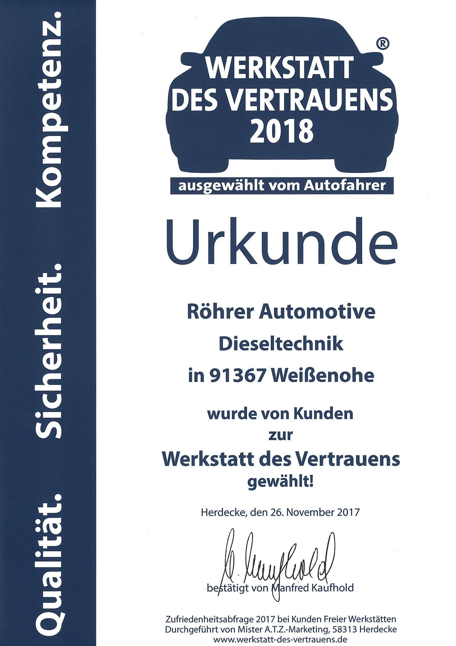 Werkstatt des Vertrauens Röhrer Automotive